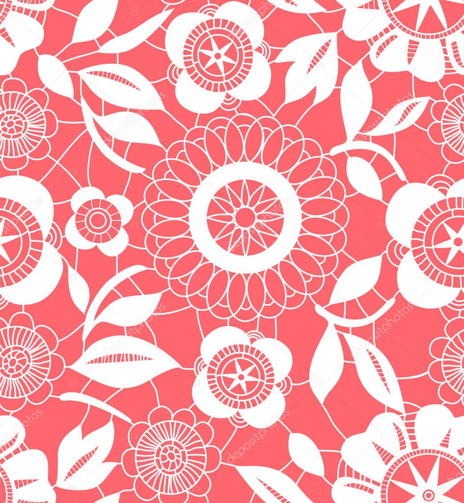 white floral crochet lacy seamless pattern, vector - Stock Vector ...