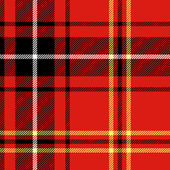 Tartan traditional checkered british fabric seamless pattern, black and red, vector — Stock Vector