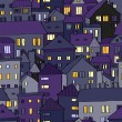 Panorama view old town at night in violet seamless pattern, vector - Stock Vector