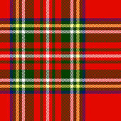 Traditional scottish tartan fabric seamless pattern in red and green, vector — Stock Vector