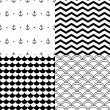 Black and white vector navy seamless patterns set: anchors, scalloped, chevron - Stock Vector