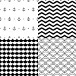 Black and white vector navy seamless patterns set: anchors, scalloped, chevron — Stock Vector