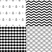 Black and white vector navy seamless patterns set: anchors, scalloped, chevron — Stockvector