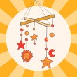 Baby crib hanging mobile toy on orange background card, vector — Stock Vector
