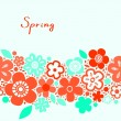 Bright red and blue floral spring seamless background, vector — Stock Vector
