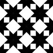 Quilted star shape fabric seamless pattern in black and white, vector — Stock Vector
