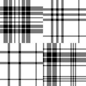 Scottish traditional tartan fabric seamless pattern set in black and white, vector — Vetor de Stock