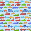 Doodle cute cars seamless background on blue, vector — Stock Vector
