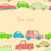 涂鸦可爱汽车无缝背景具有蜡笔颜色与一个地方为您的文本、 矢量 — 图库矢量图片