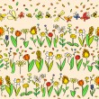 Fresh spring cartoon flowers seamless pattern in pastel colors, vector — Stock Vector