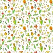 Fresh spring cartoon flowers seamless pattern on white, vector — Stock Vector #22601427