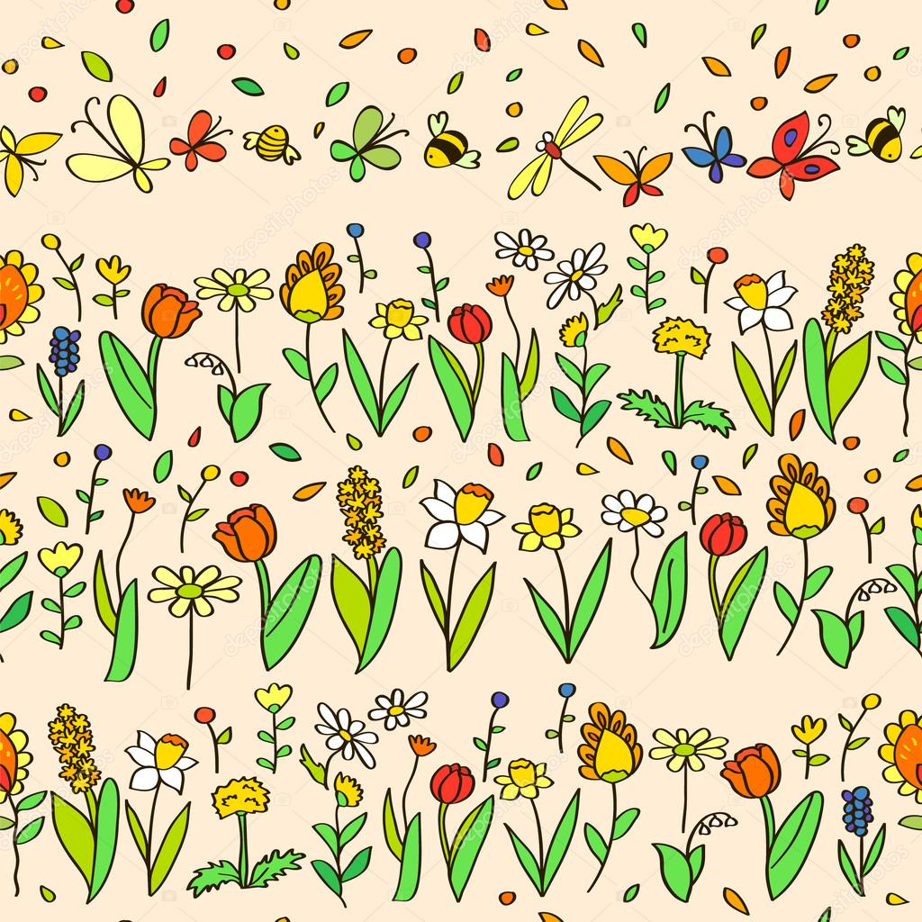 Cartoon Spring Flowers