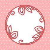 Rotonda cornice floreale vignetta sulla scheda sfondo rosa a pois, vettoriale — Vettoriale Stock