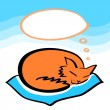 Stock Vector: Sleeping ginger cat with a speech bubble dreaming card, vector