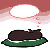 Spanie brązowy kot z dymek marzy karty, wektor — Wektor stockowy