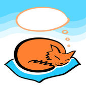 Sleeping ginger cat with a speech bubble dreaming card, vector — Stock Vector