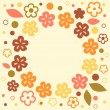 Flower wreath circle frame card background for your text or photo, vector — Stock Vector
