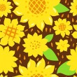 Bright yellow sunflowers on dark brown seamless pattern, vector - Stock Vector