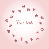 Cat or dog paw prints pink round frame for your text background, vector — Stockvektor