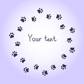Cat or dog paw prints violet round frame for your text background, vector — Stockvektor