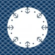 Round navy blue and white frame with anchors and dots, on a scalloped background, vector — Stock Vector