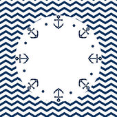 Round navy blue and white frame with anchors and dots, on a chevron background, vector — Stock Vector