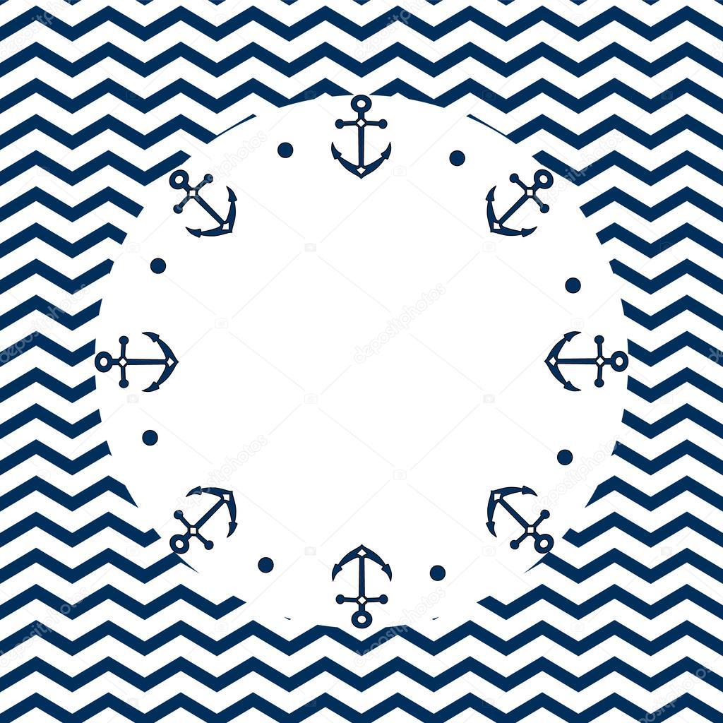 Rond Bleu Marine Et Blanc Cadre Avec Les Ancres Points Sur Un Fond De Chevron Vector Image