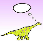 Prehistoric green dinosaur (diplodocus) character with a speech bubble, vector — Wektor stockowy