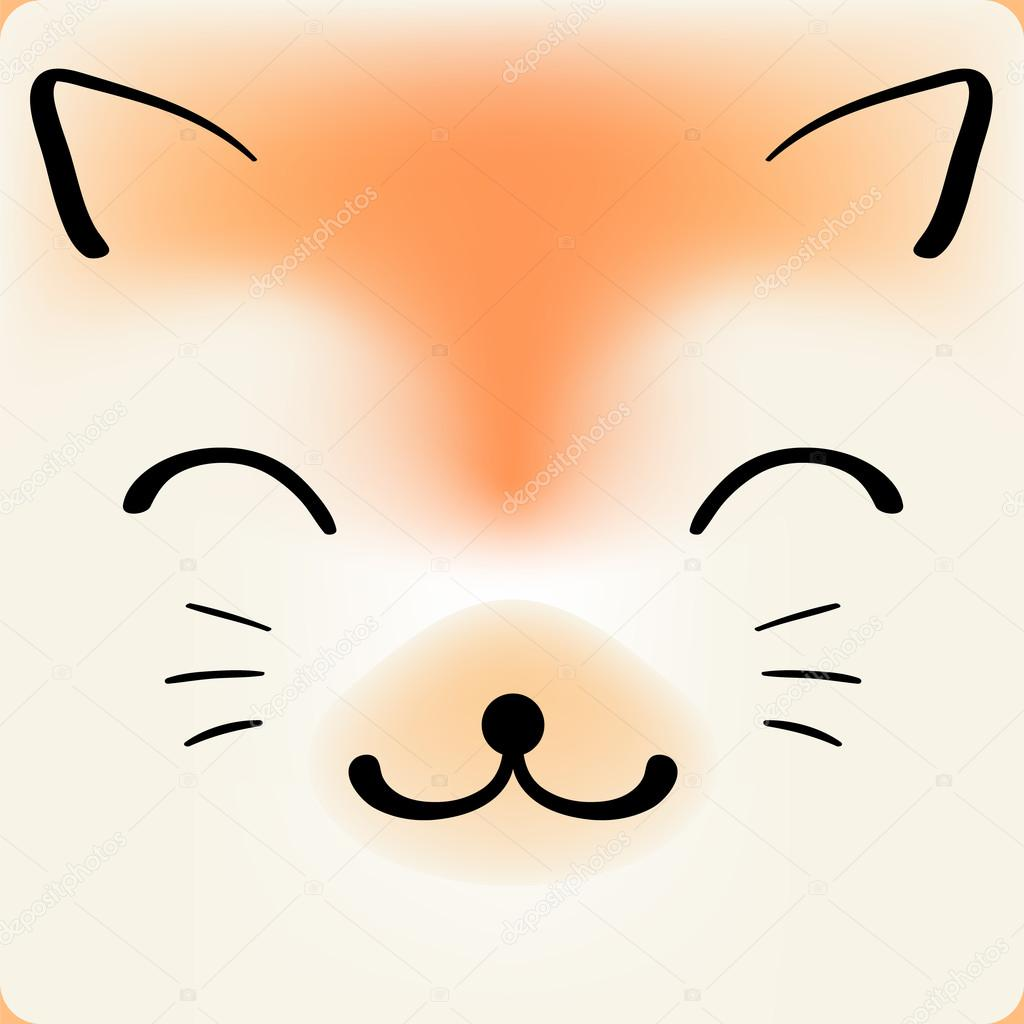 cute cartoon cat face vector background for a card