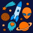 Colorful space elements set in orange and blue: spaceship, alien, stars, planets, vector — Stock Vector