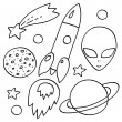 Space elements set in black and white: spaceship, alien, stars, planets, vector — Stock Vector