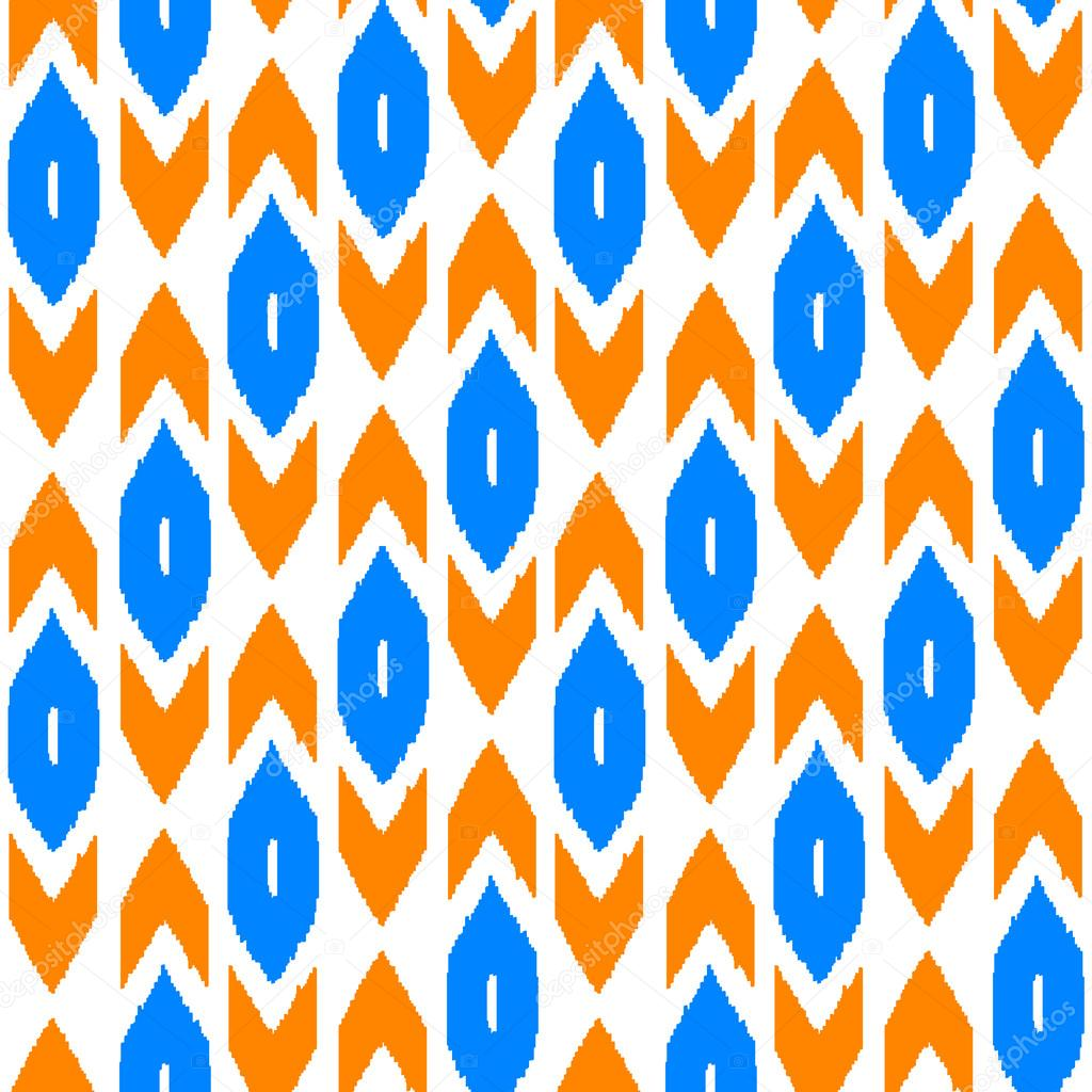 ikat traditional middle east fabric in orange and blue seamless pattern vector stock vector. Black Bedroom Furniture Sets. Home Design Ideas