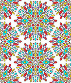 Abstract colorful kaleidoscope seamless pattern in blue and red on white, vector — Stock Vector
