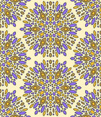 Abstract colorful kaleidoscope seamless pattern in beige and violet, vector — Stock Vector