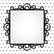Stock Vector: Retro square frame on polkdot background invitation or greeting card template, vector