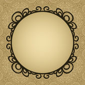 Round vignette frame on texture in brown card background, vector — Stock Vector