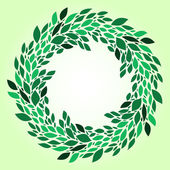 Green leaves fresh spring wreath background, vector — Stock Vector