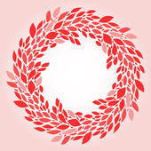 Pink leaves elegant wreath background, vector — Vetor de Stock