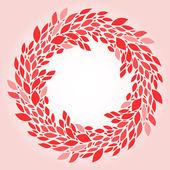 Pink leaves elegant wreath background, vector — Stock Vector