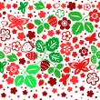 Red and green strawberry seamless pattern on white, vector — Stock Vector #23600895