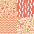 Flowers strawberry and butterflies seamless patterns collection in pink, vector - Stock Vector