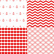 Navy vector seamless patterns set in red and white: scallop, waves, anchors, chevron — Stock Vector #23604923