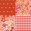 Flowers leaves and abstract seamless patterns collection in red, vector — Stock Vector #23604925