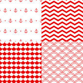 Navy vector seamless patterns set in red and white: scallop, waves, anchors, chevron — Stock Vector