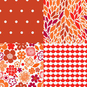 Flowers leaves and abstract seamless patterns collection in red, vector — Stock Vector