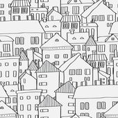 Old town panoramic seamless pattern in black and white, vector — Vetor de Stock