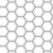 White hexagon abstract geometric seamless pattern, vector — Imagens vectoriais em stock