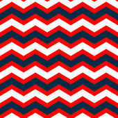 Abstract geometric chevron seamless pattern in blue red and white, vector — Stockvektor