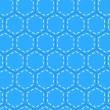 Blue patchwork hexagon stitched quilt seamless pattern, vector — Stockvectorbeeld