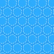 Blue patchwork hexagon stitched quilt seamless pattern, vector — 图库矢量图片